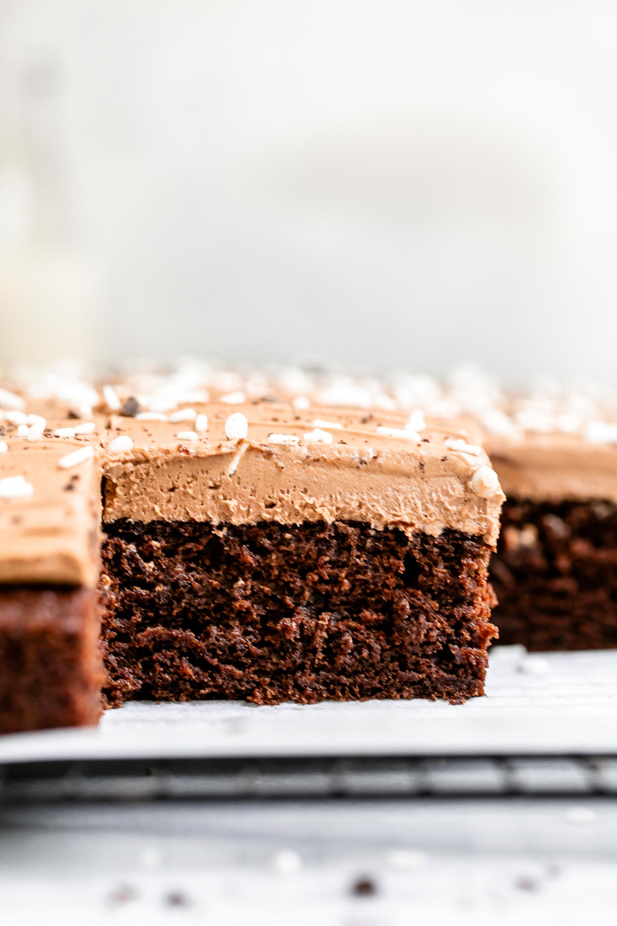 Cake sliced into squares to show the texture.