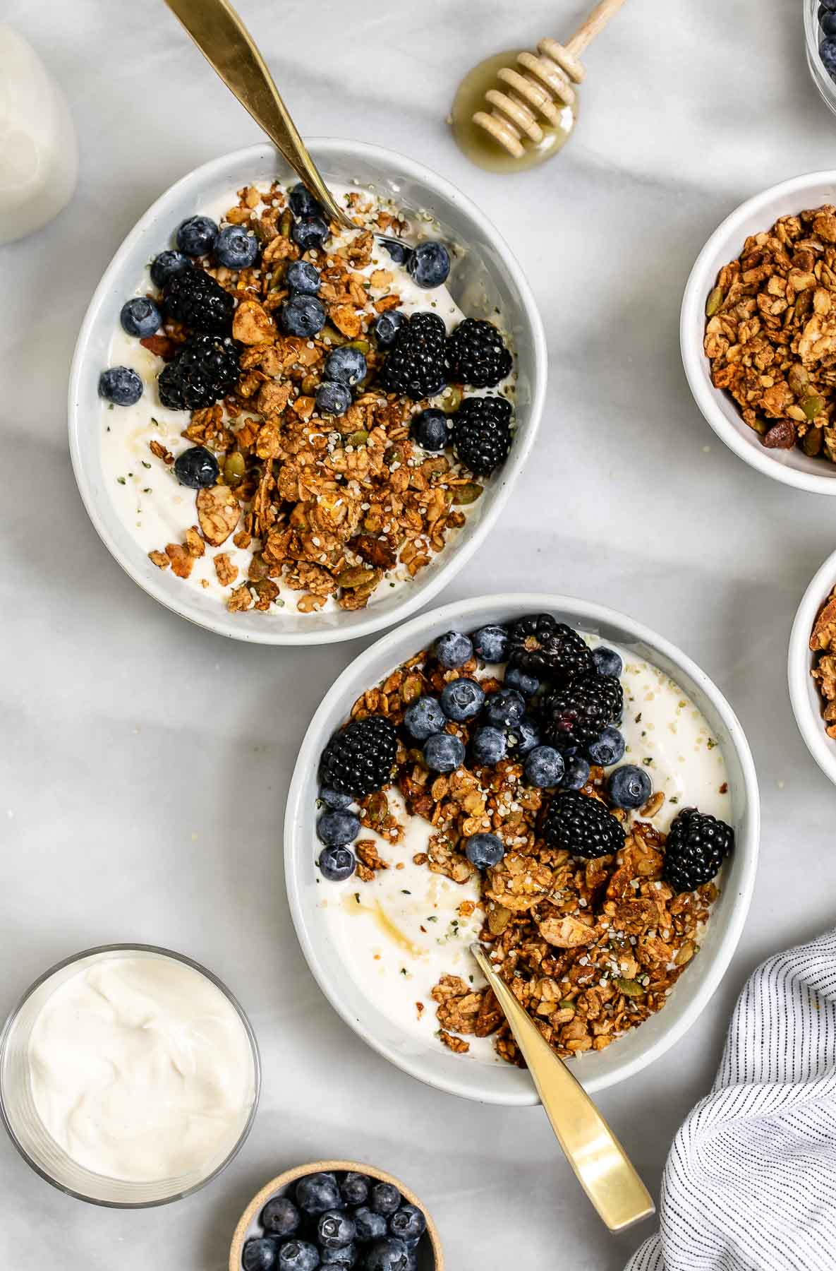 Two bowls with vegan granola and yogurt with blueberries on top.