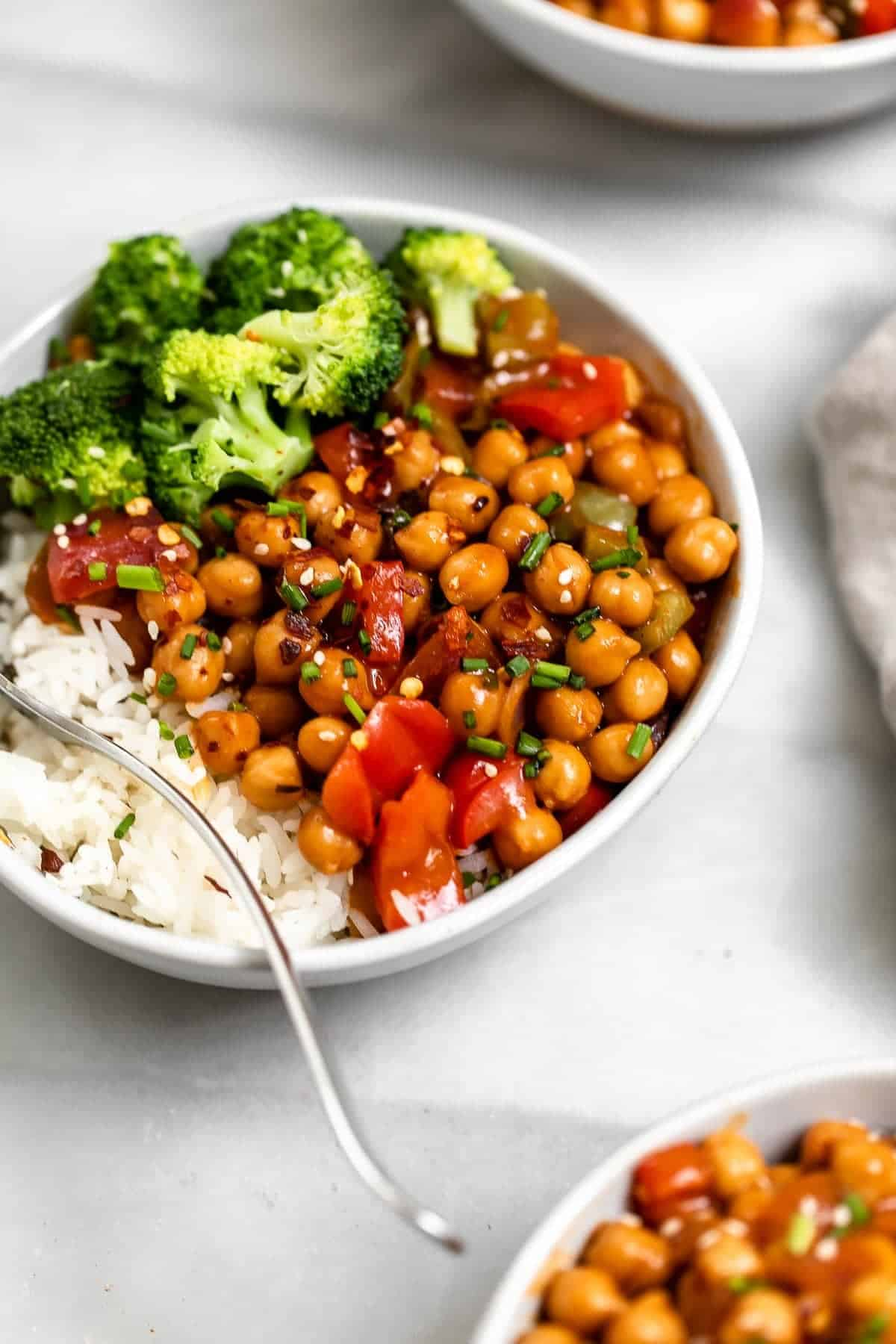 Recipe with steamed broccoli and rice on the side.