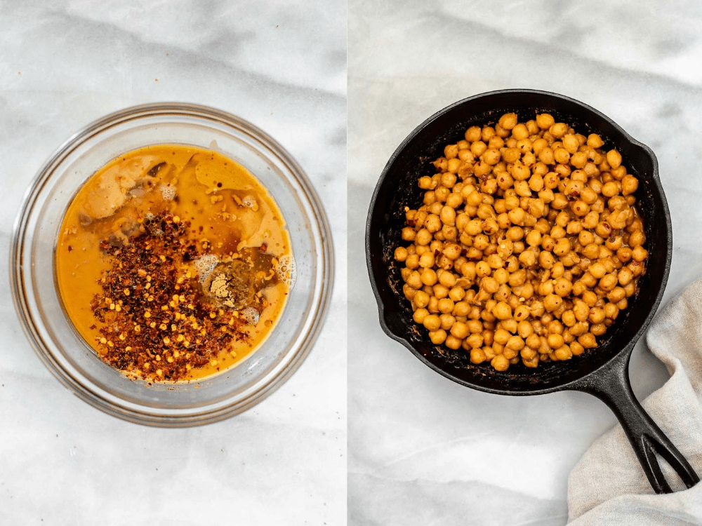 Showing how to make the chickpeas and peanut sauce.