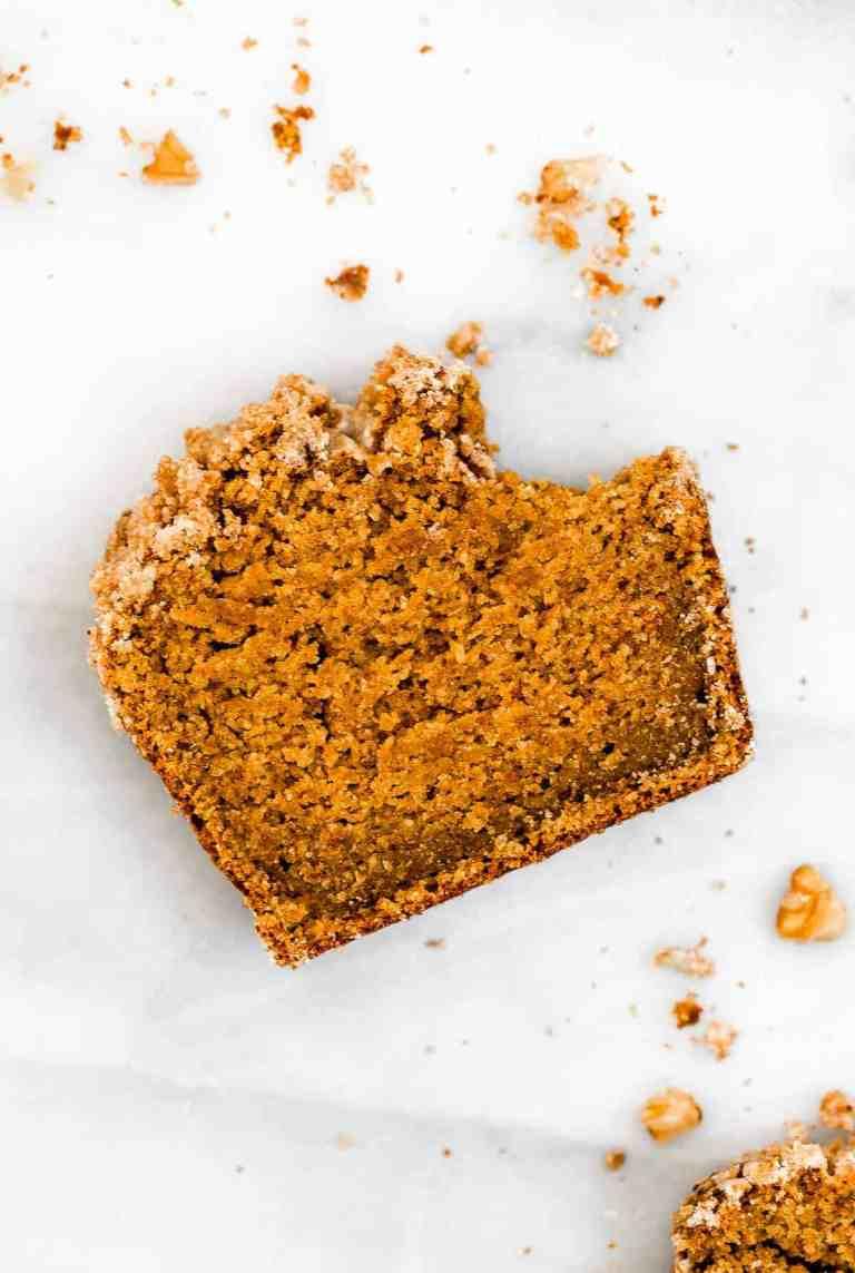 Vegan pumpkin bread for a vegan thanksgiving breakfast.