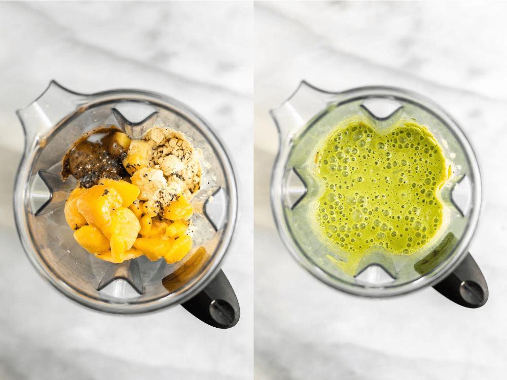 Showing the blender before and after blending the smoothie,