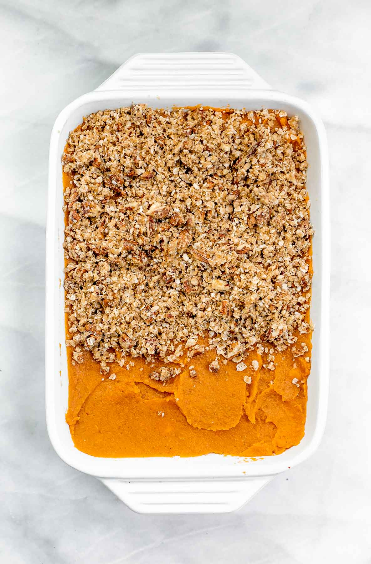 Sweet potato casserole with oat crumble on top.
