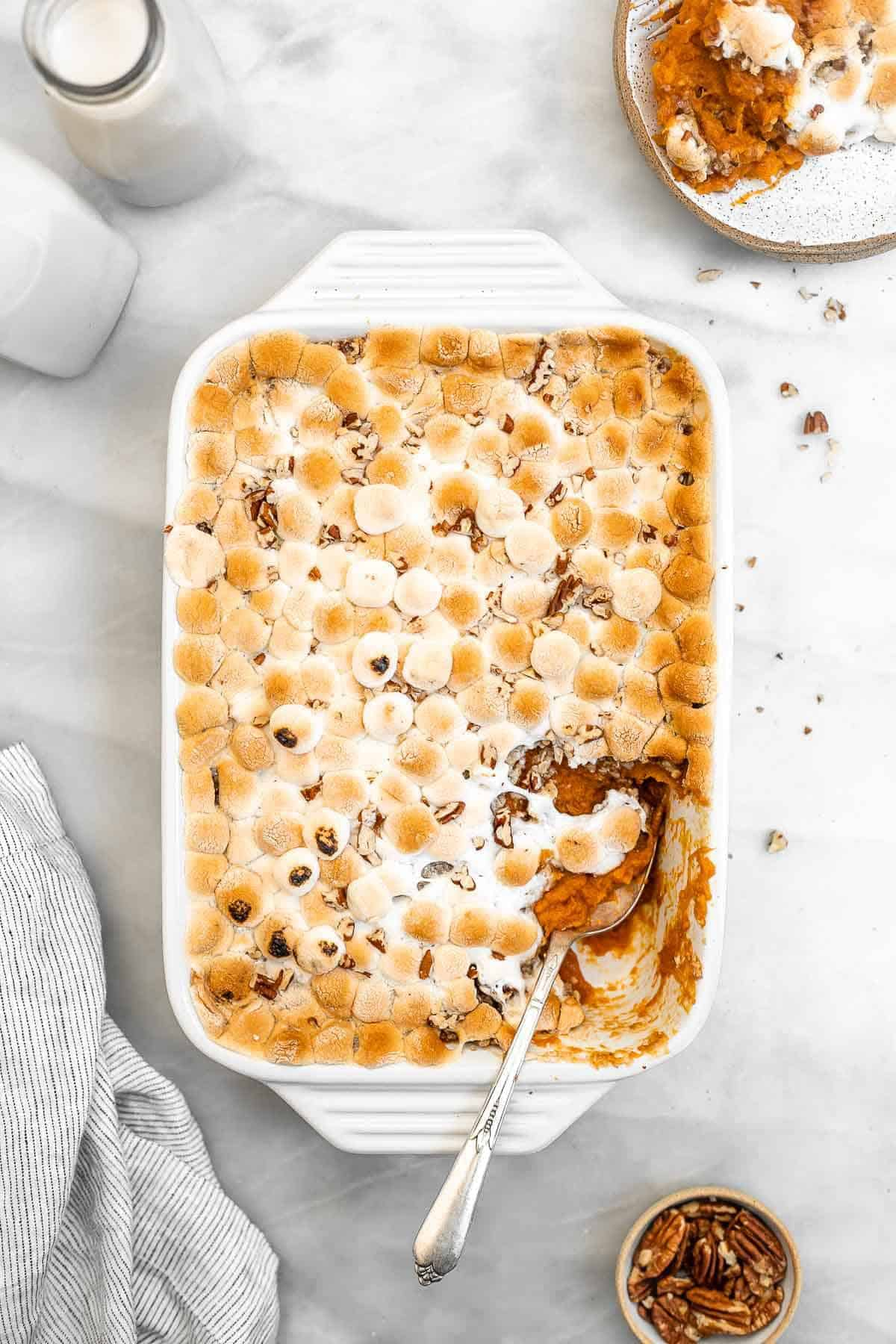 Overhead shot of sweet potato casserole with golden marshmallows.