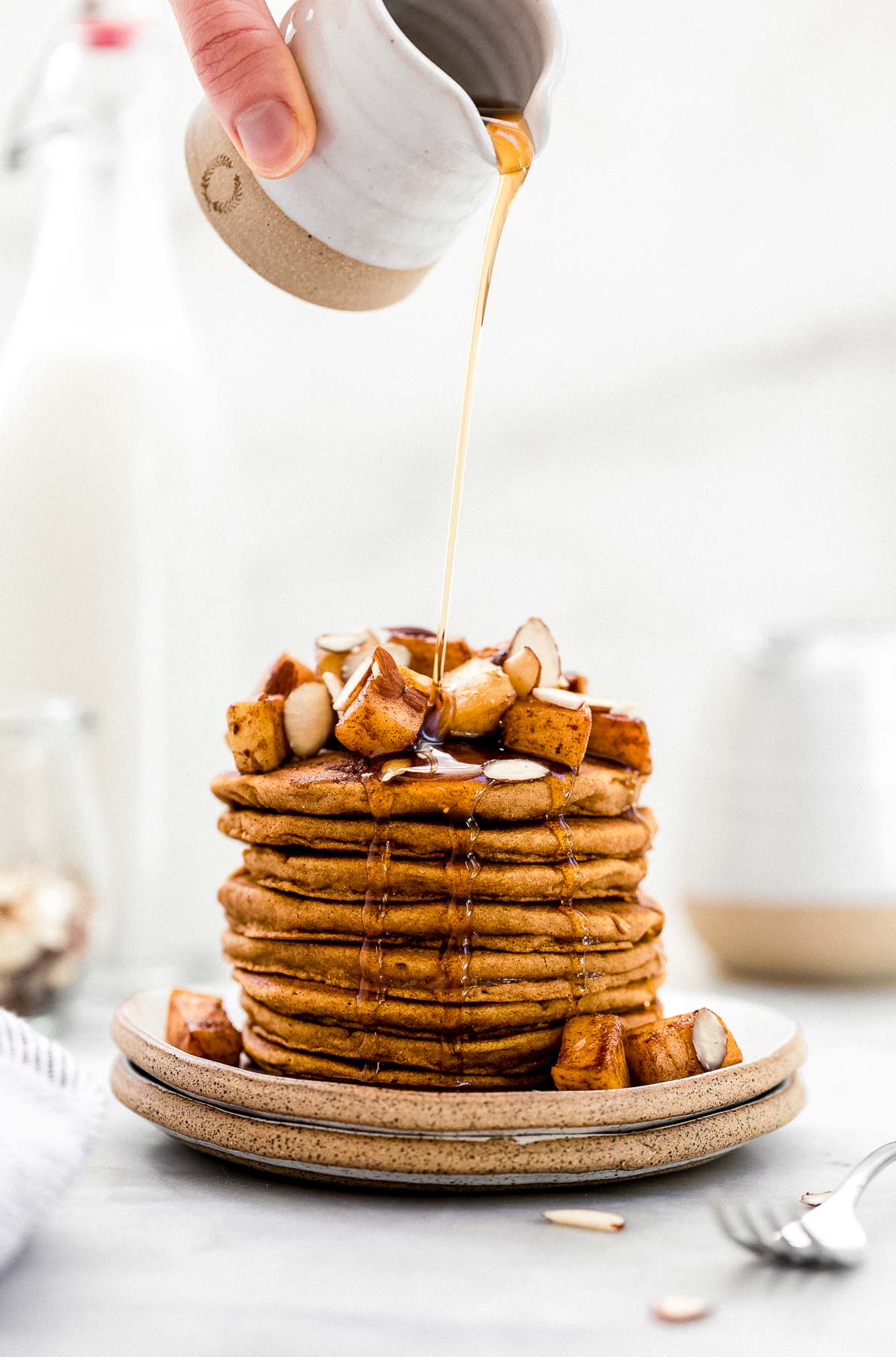 Sweet potato pancakes on a plate.