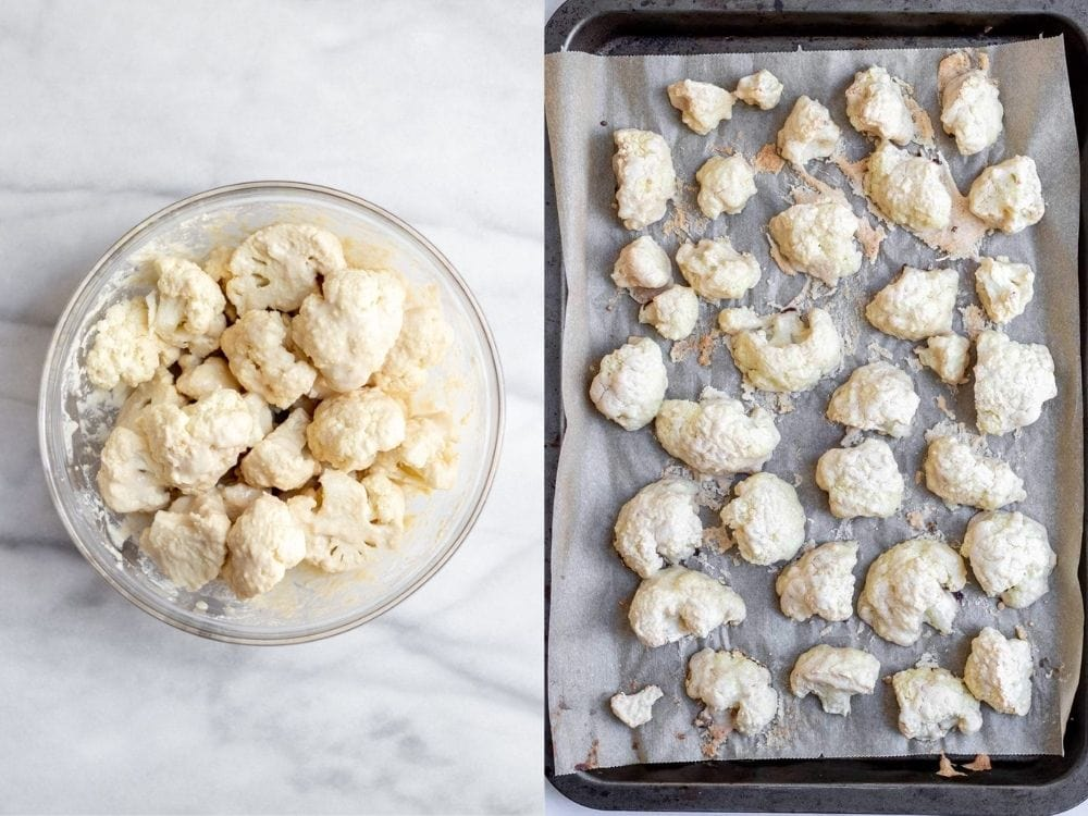 Before and after baking the cauliflower florets.