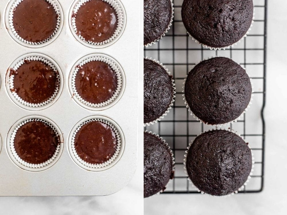 Before and after baking the recipe.