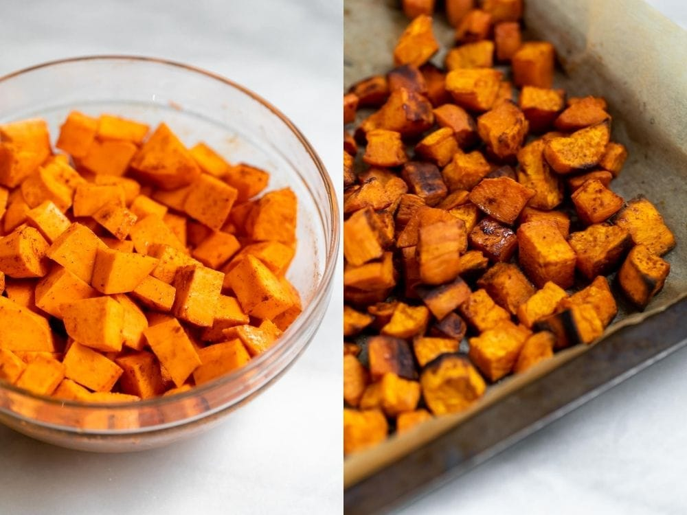Before and after roasting the sweet potatoes.