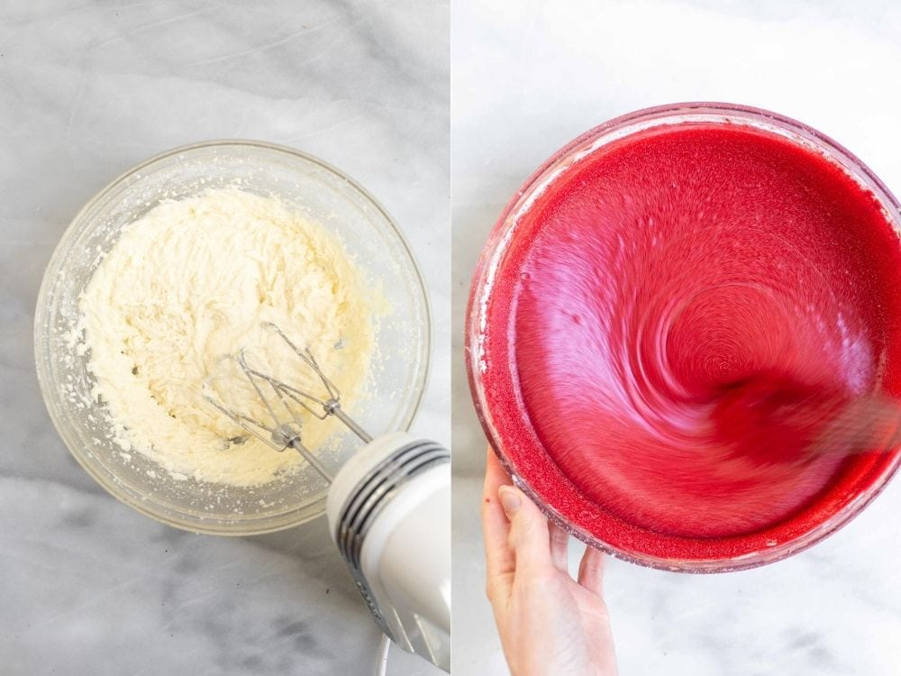 Mixing the batter in two glass bowls.