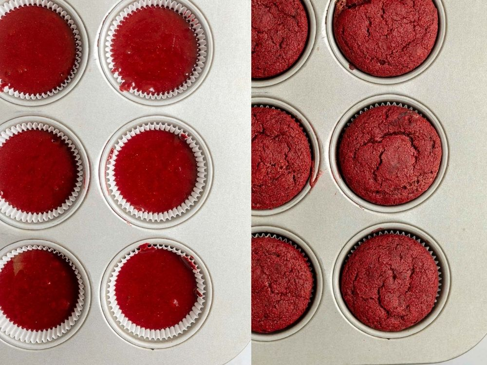 cupcakes before and after going in the oven