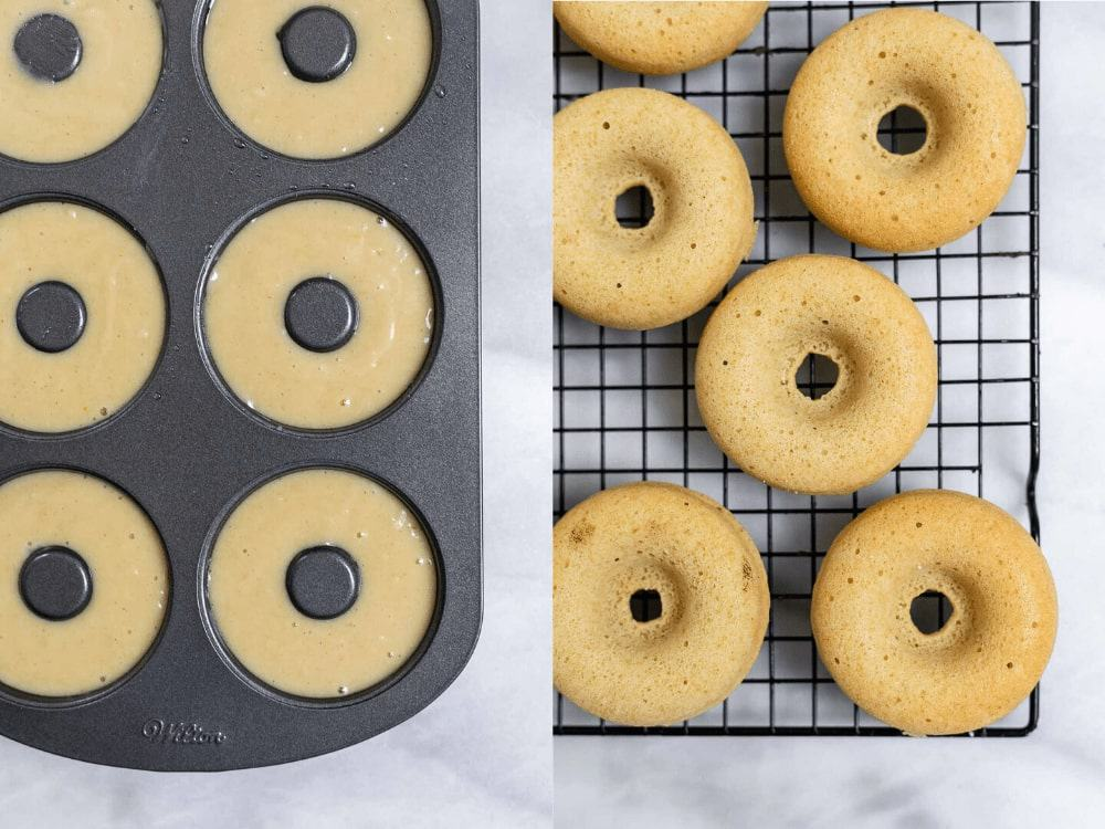 Two images showing before and after baking the donuts.