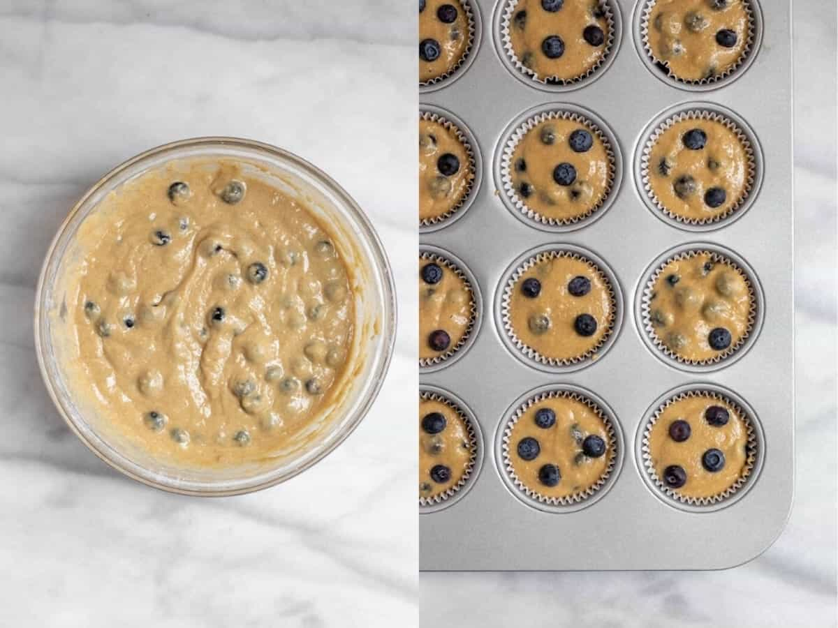 Two images showing the batter for the blueberry muffins in a bowl and with muffin liners.