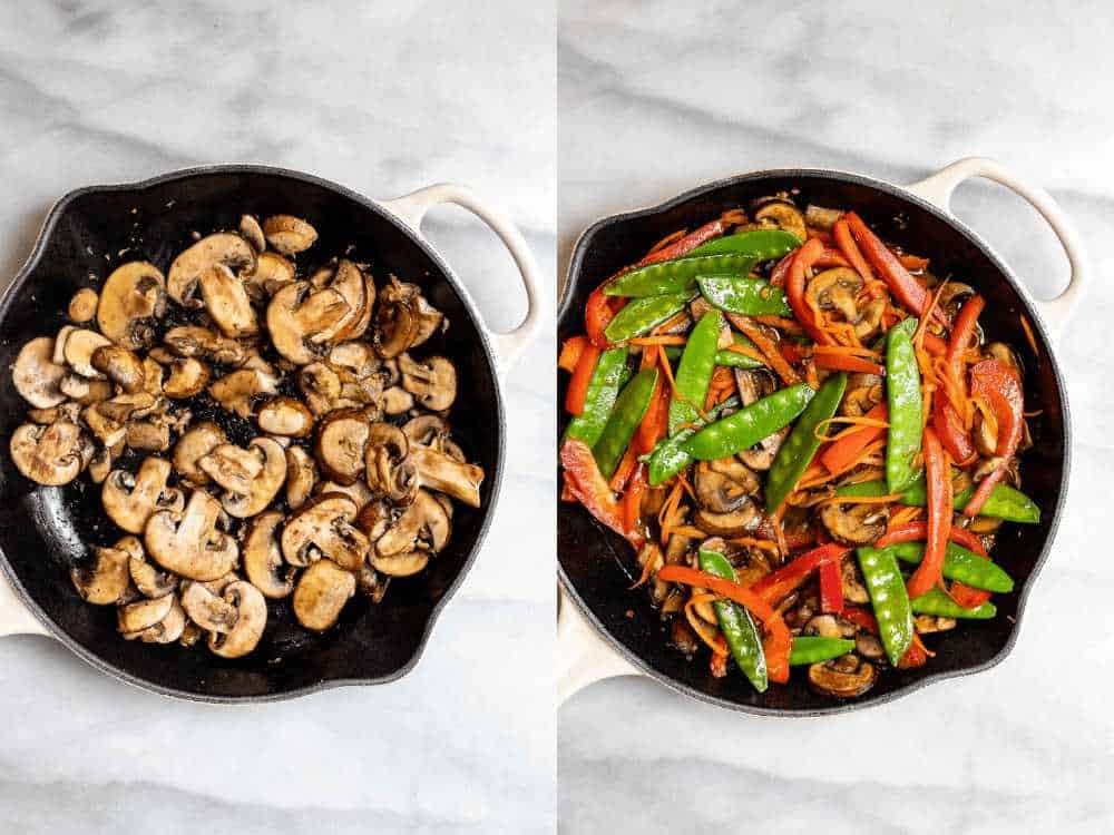 sauteing the vegetables in a black skillet