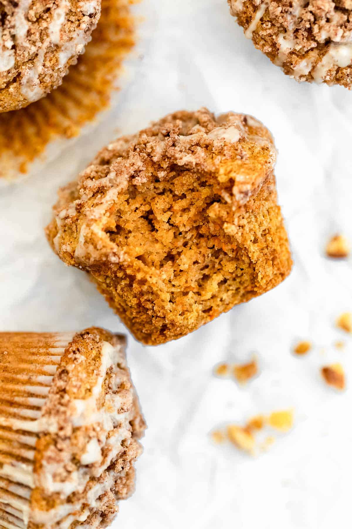 gluten free carrot muffins with a bite taken out