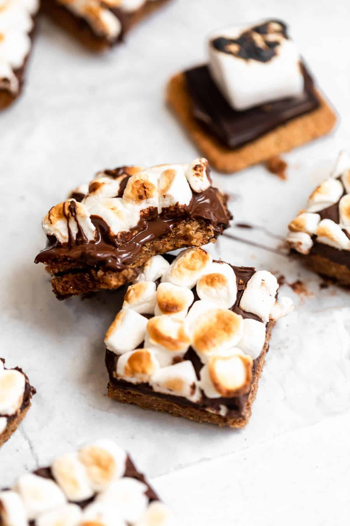 Stack of vegan smores bars to show the melted chocolate.