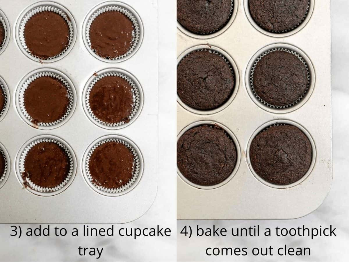 before and after baking the cupcakes