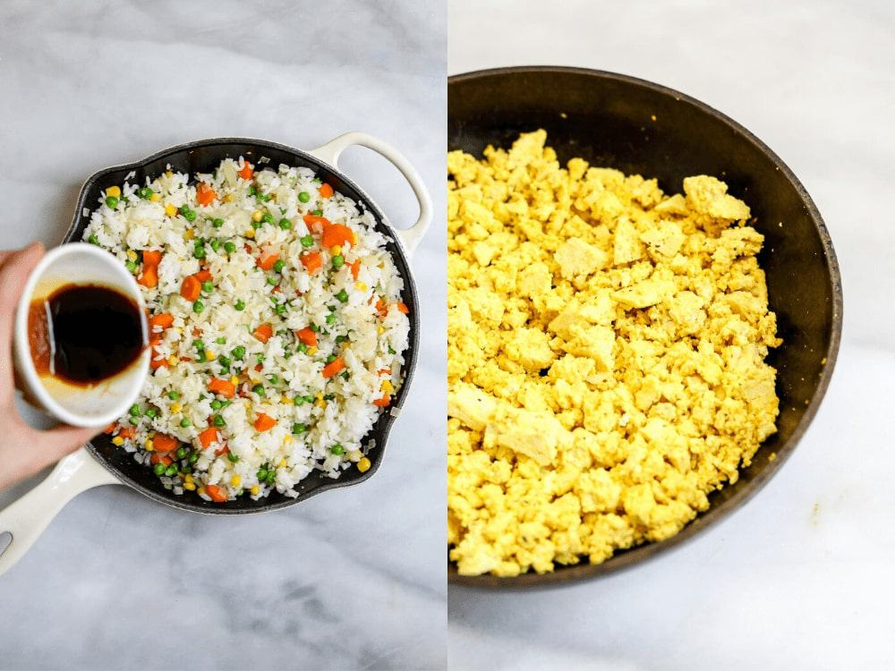 Two images showing the tofu scramble and pouring the sauce on the rice