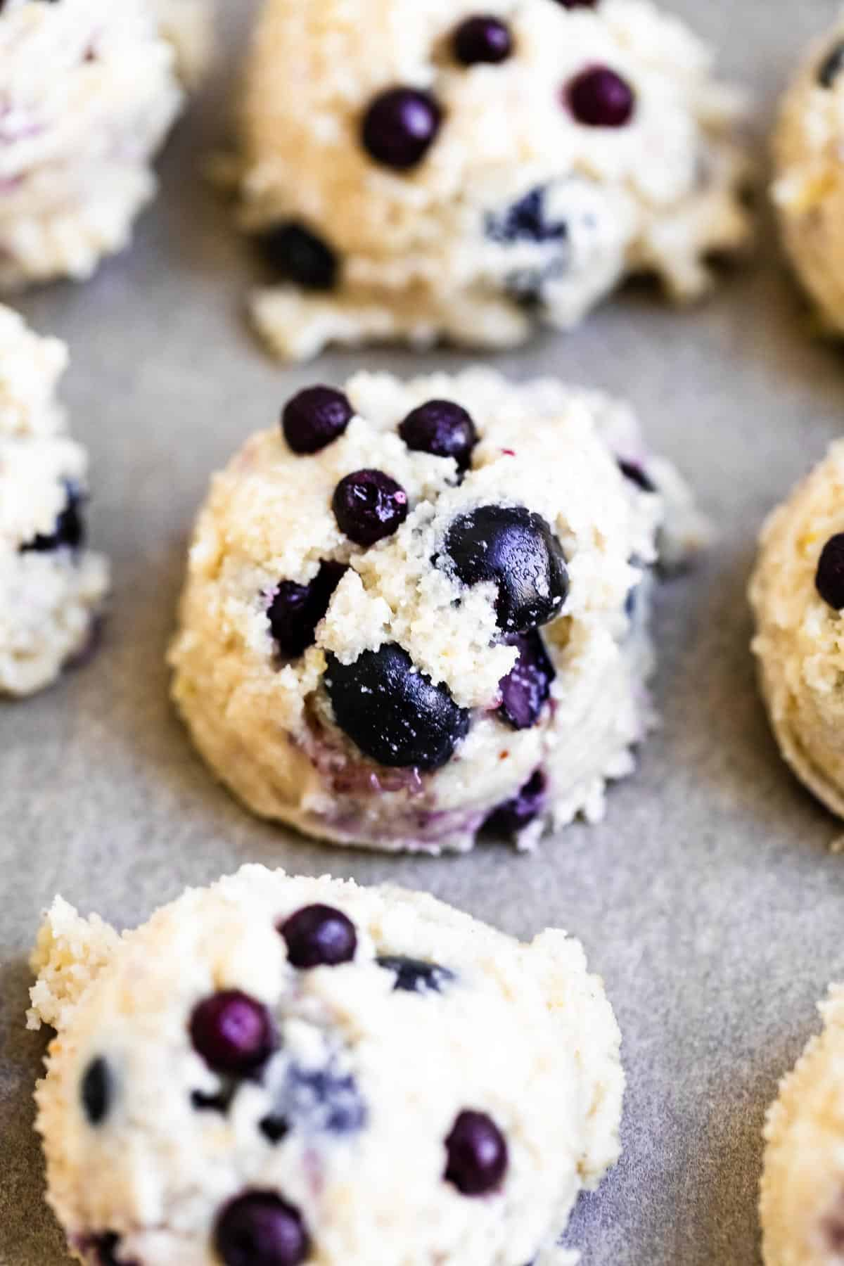 lemon cookie dough scooped into balls