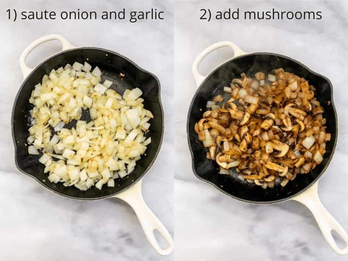Sauteeing the onion and mushrooms.