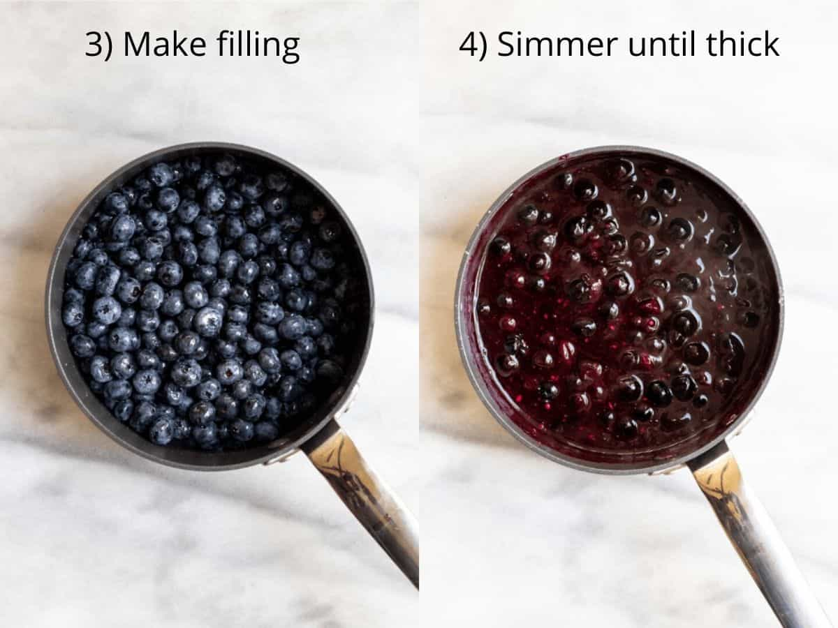 two photos showing how to make the filling