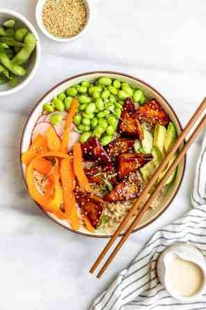 Vegan Sushi Bowl with Pan Fried Tofu