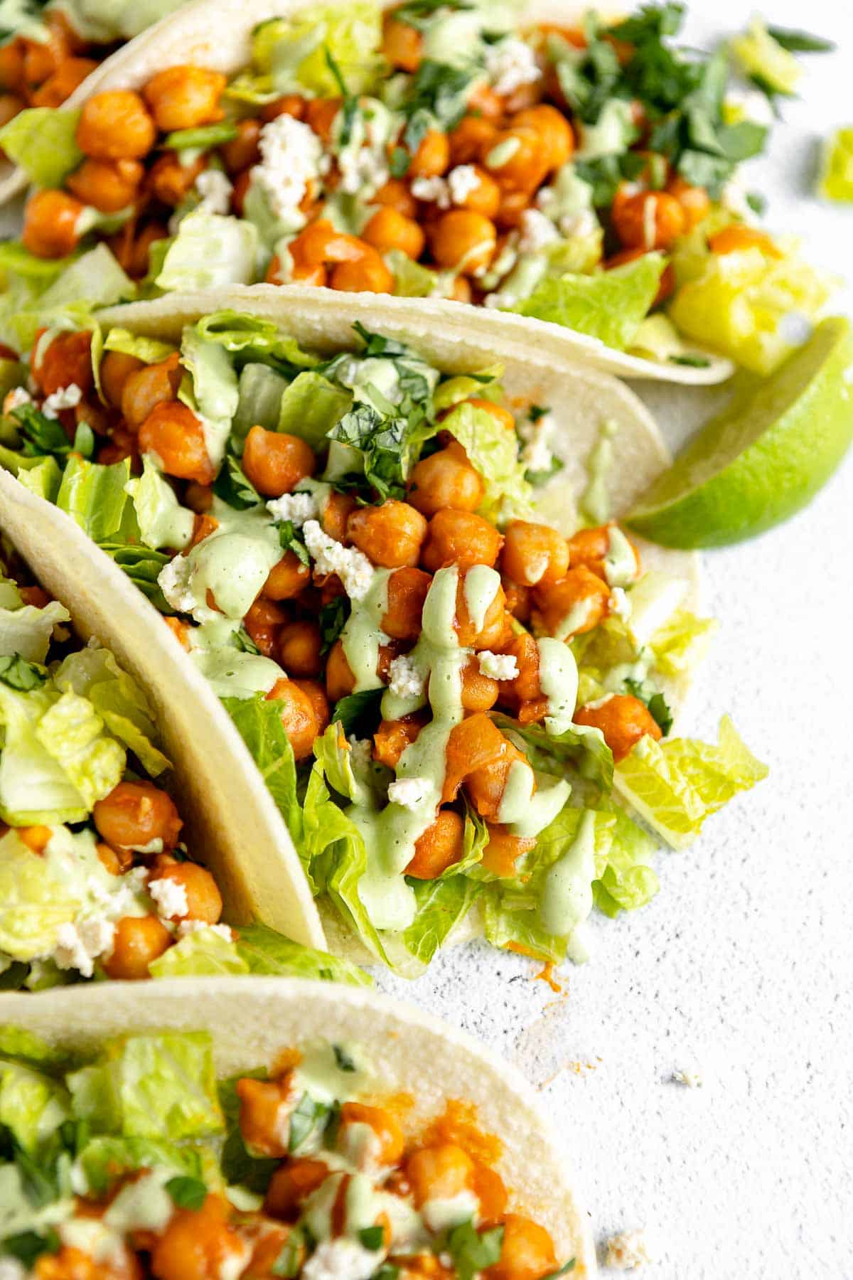 vegan chickpea tacos with corn tortillas