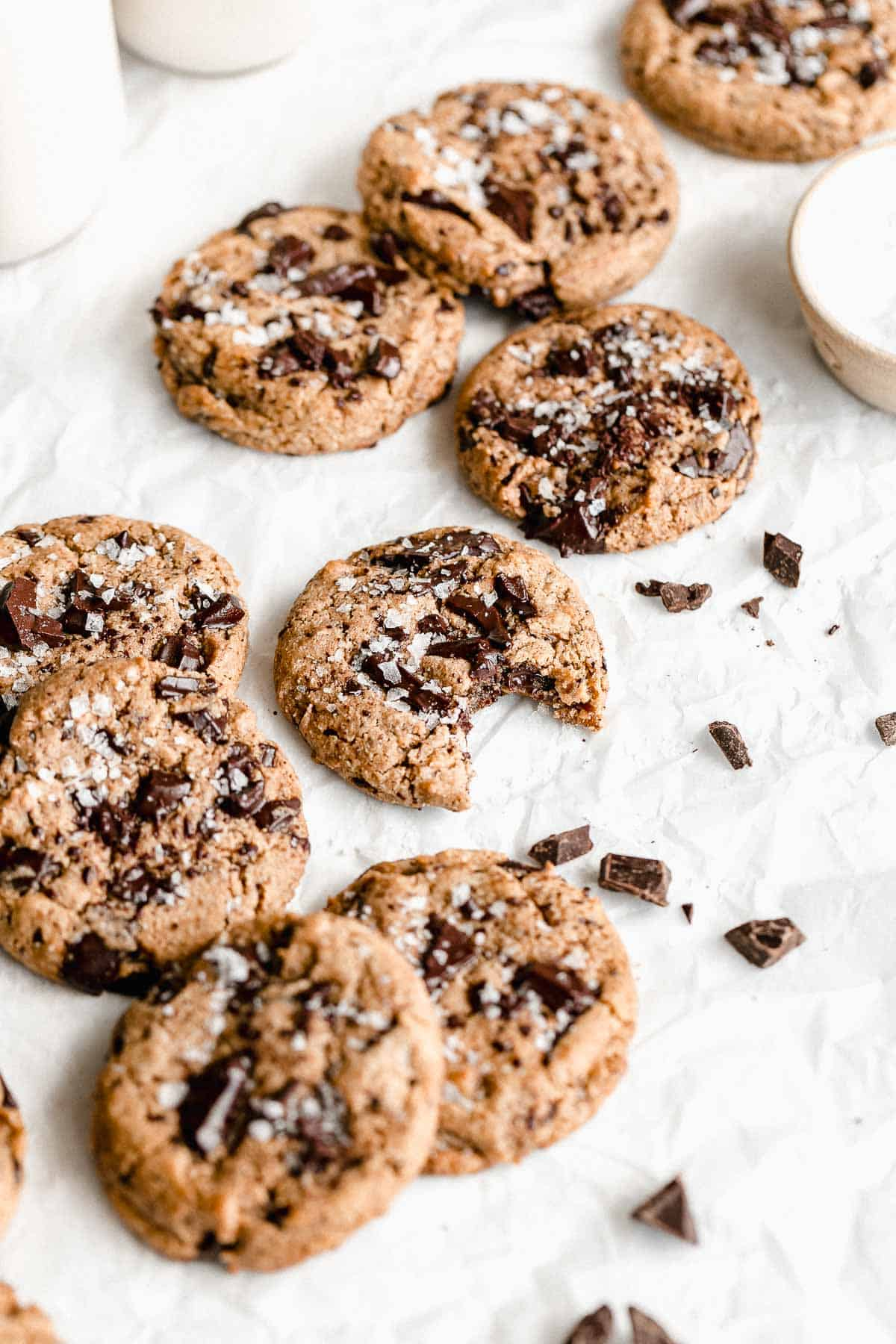 vegan protein cookies on parchment paper with sea salt