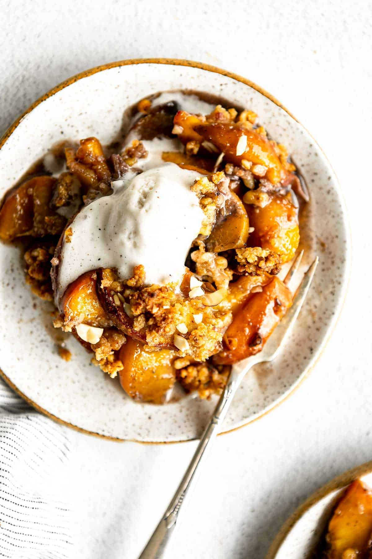 final recipe on a plate with ice cream on top