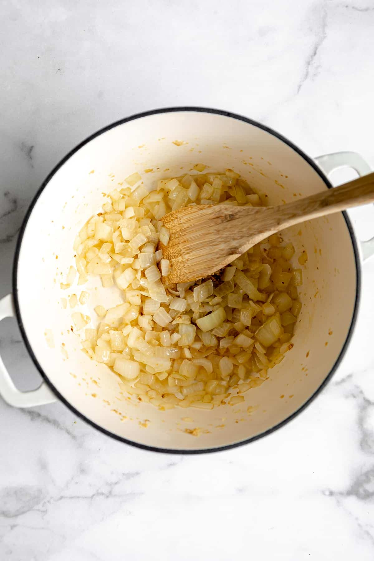 sauteeing onion and garlic