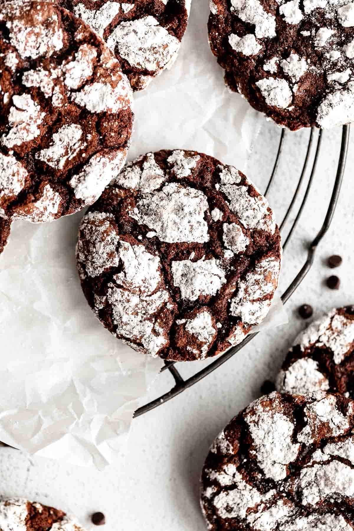 over head shot of gluten free crinkle cookies with chocolate chips