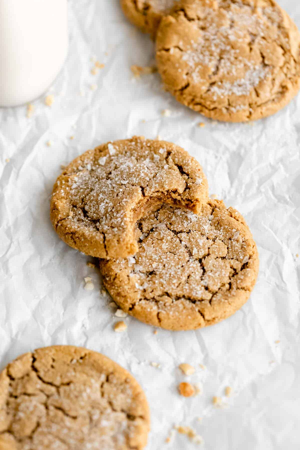 gluten free Peanut butter cookies with sea salt flakes on top.