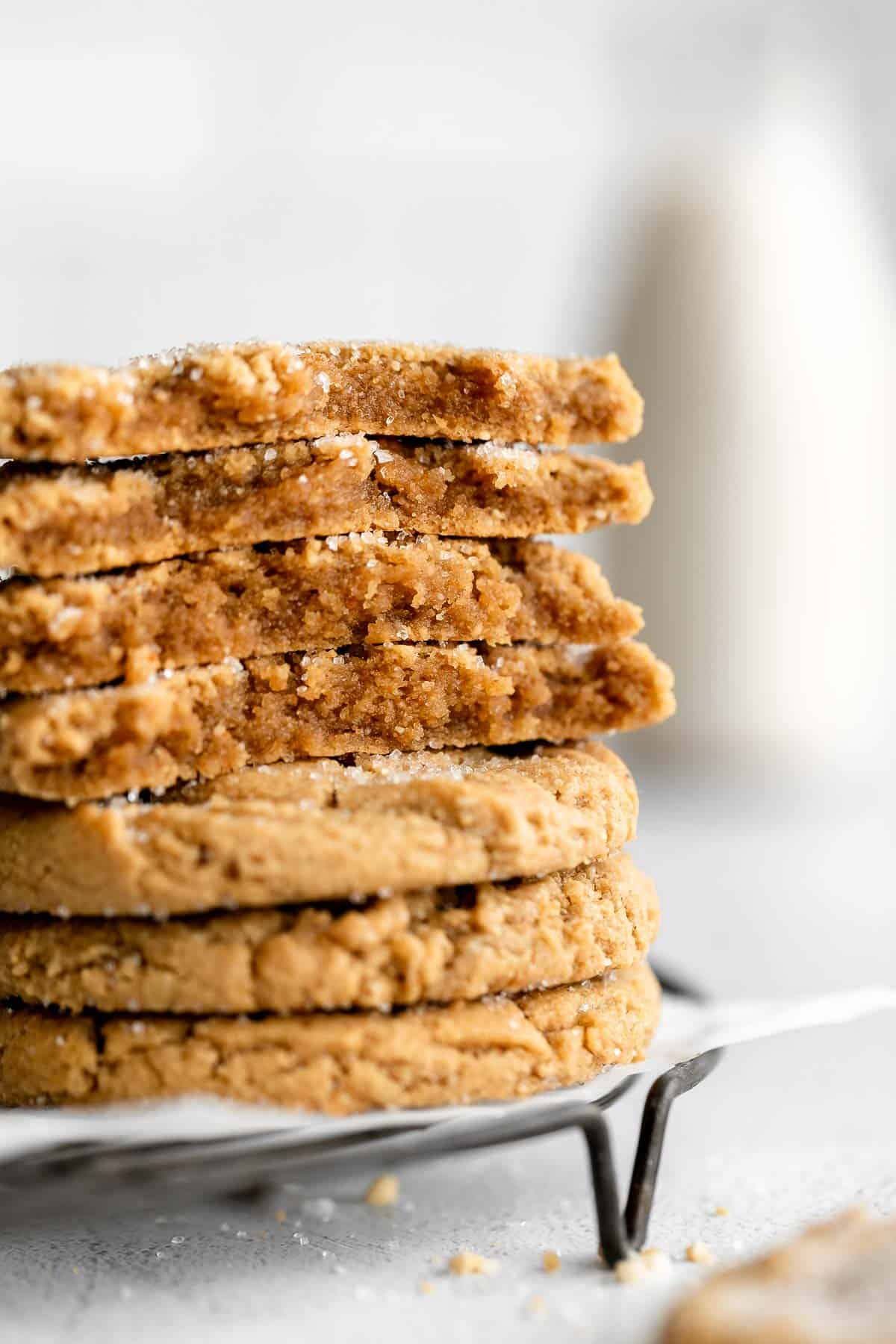 gluten free peanut butter cookies stacked on each other