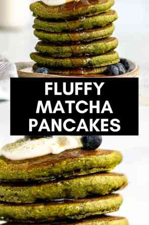 fluffy matcha pancakes