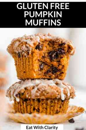 two pumpkin muffins with chocolate chips