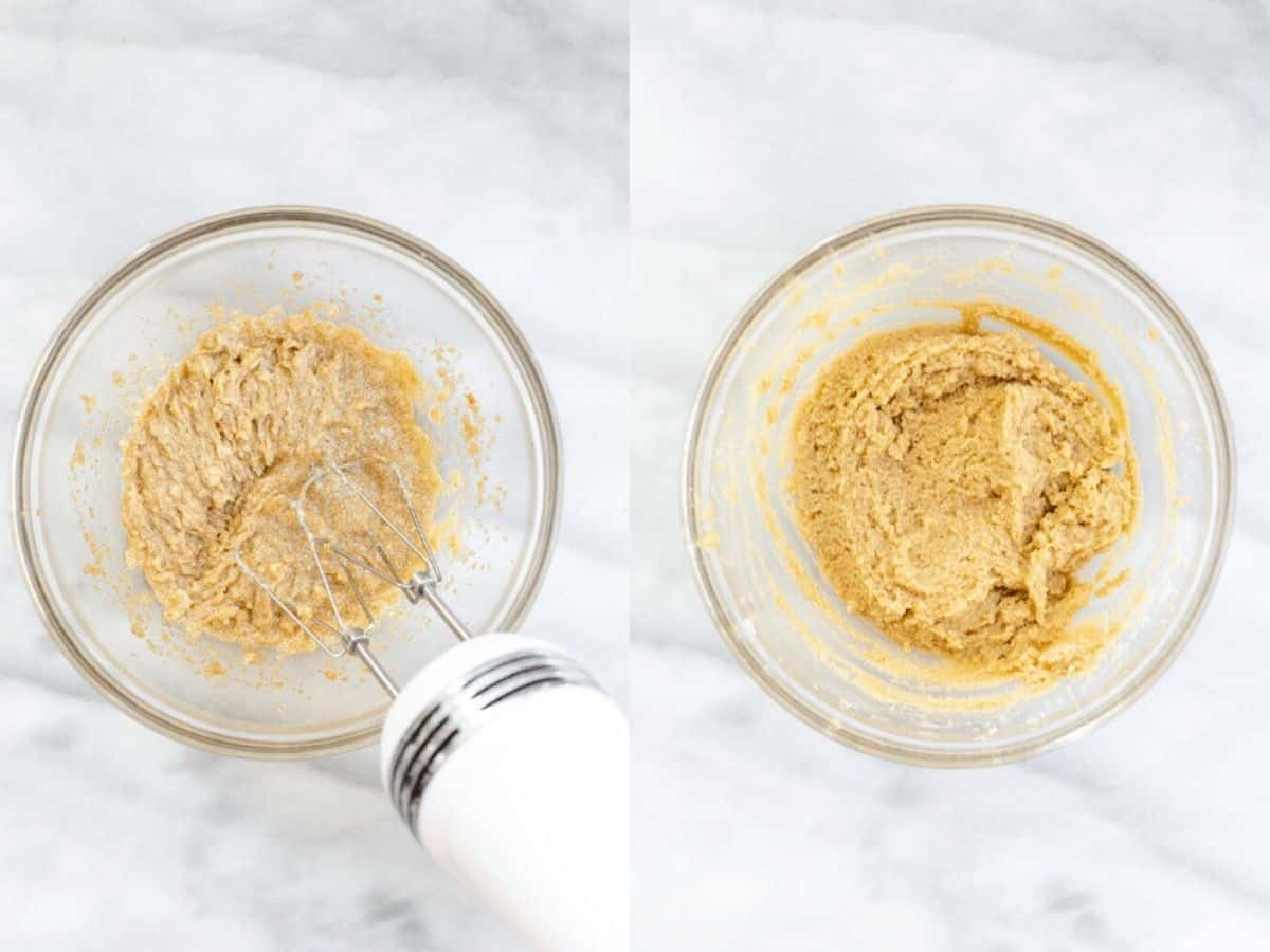 Two photos side by side showing how to make the recipe.