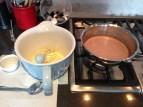 Preparing the chocolate ice cream custard