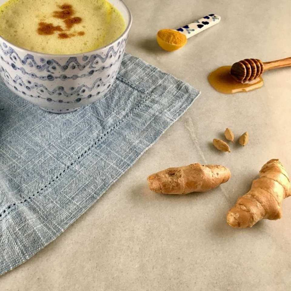 Good sleep-calm nerves golden milk. Turmeric tea latte for calm nerves and good sleep. Turmeric saffron latte.