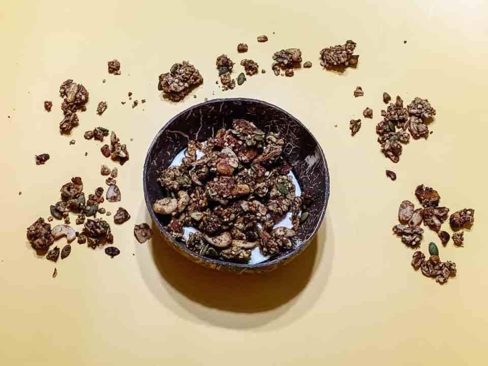 low-sugar granola. caramel healthy granola. caramel granola