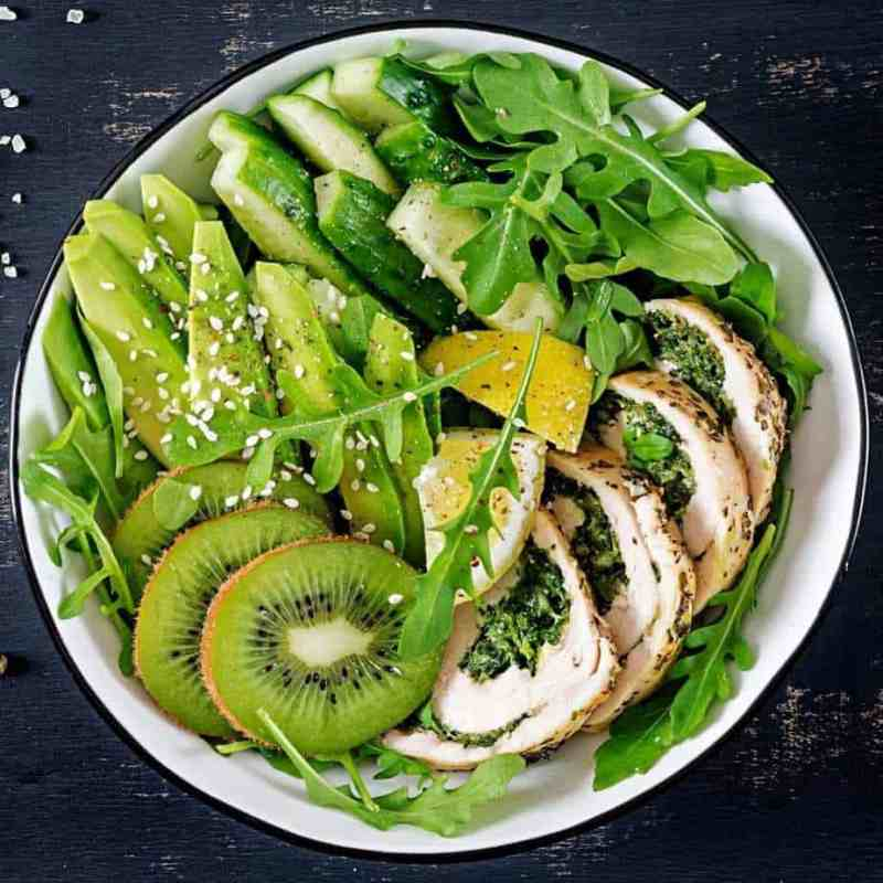 Hormone balancing leafy green salad made with superfoods for women.