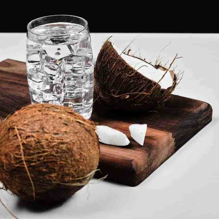Coconut water, gut friendly homemade electrolyte drink.