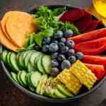 Buddha bowl with fruits and vegetables full of amazing health benefits in organic food
