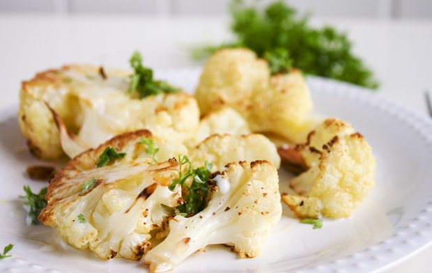 Baked cauliflower with chervil, sour-milk almonds sauce
