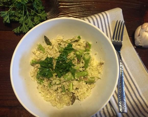 Raw Cauliflower Asparagus Risotto