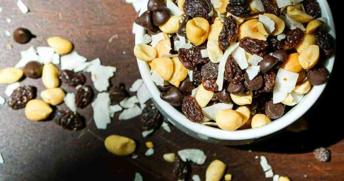 Chocolaty Coconut GORP recipe - This is a quick and easy make it yourself recipe for trail mix. Just get the four ingredients in the perfect proportions, mix together, and be on your way. Great for hikes, travel and just keeping on hand for when hunger strikes!