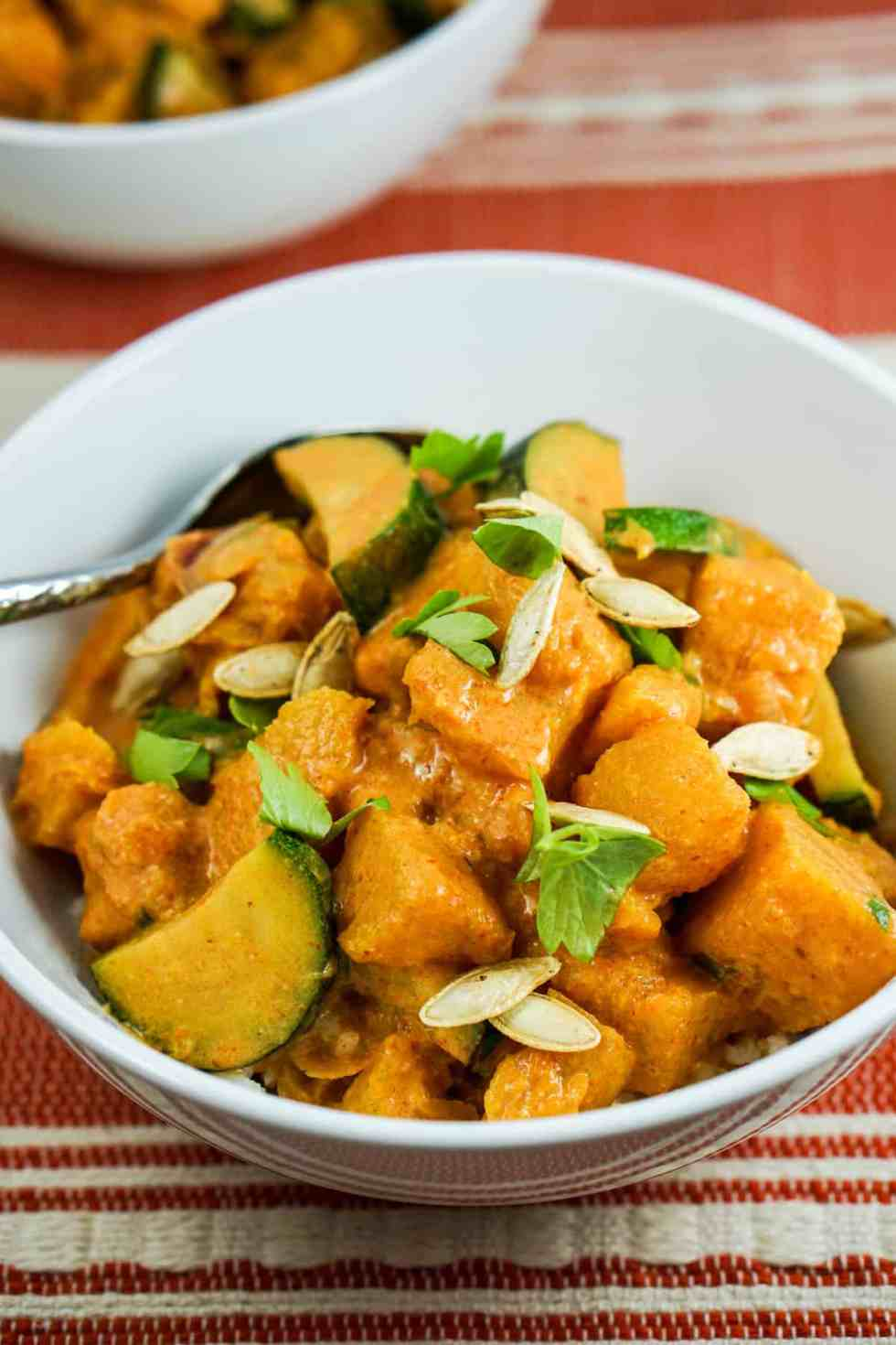 Pumpkin Coconut Red Curry Recipe - Healthy clean eating curry recipe using real whole food. Great served by itself or over rice or zoodles.