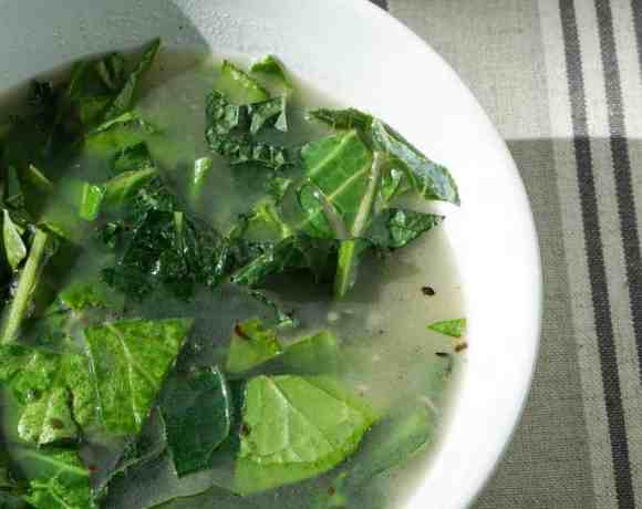 Bone Broth over Winter Greens (vegan option)