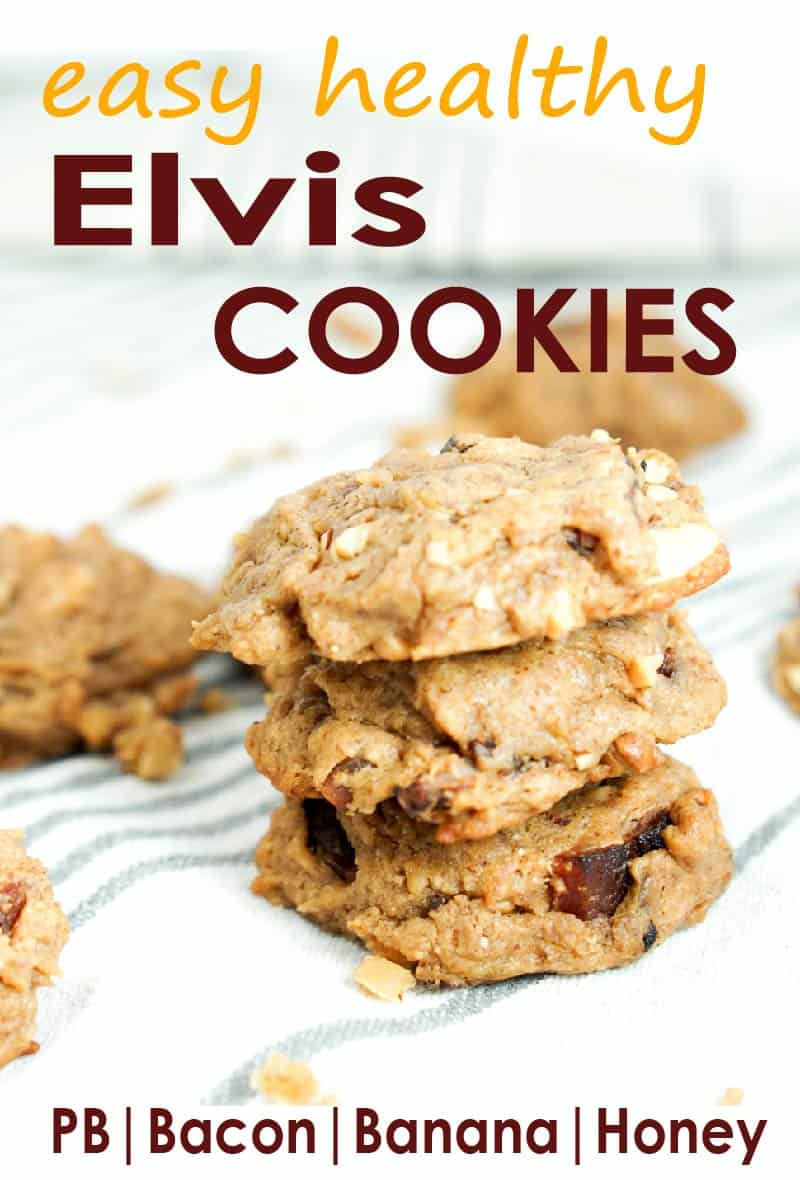 Elvis Cookies - a healthy, clean cookie recipe inspired by Elvis Presley's favorite sandwich. Peanut butter, bacon, banana and honey = quick, easy, healthy.