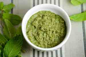 Quick 5 minute Mint Chutney recipe using only 5 ingredients. Healthy, gluten free, dairy free, and a great way to use leftover herbs.