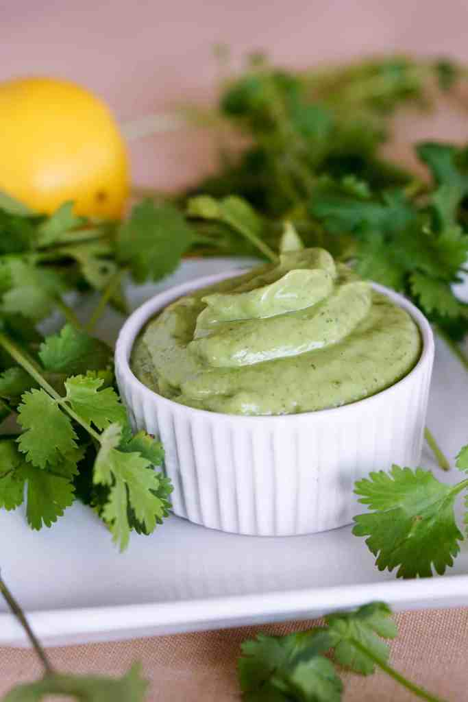 Simple 5 ingredient Creamy Avocado Cilantro Sauce Recipe makes a great Paleo or Whole 30 salad dressing or side sauce that's gluten free and dairy free.