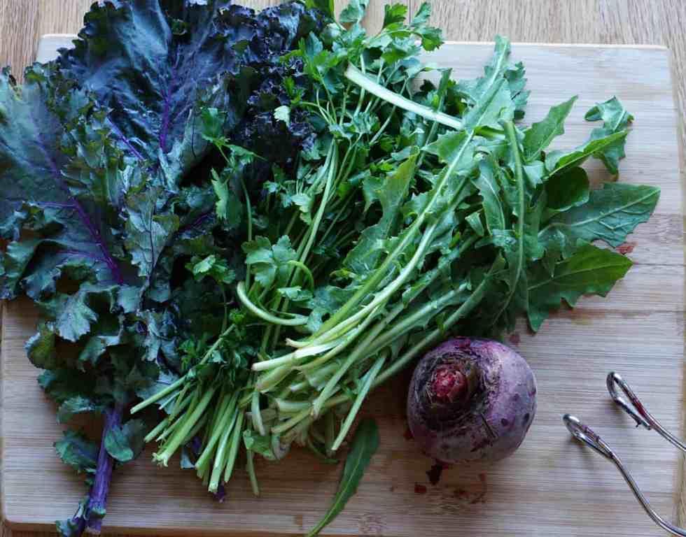 Fresh Kale, Parsley, Dandelion Greens and Beets